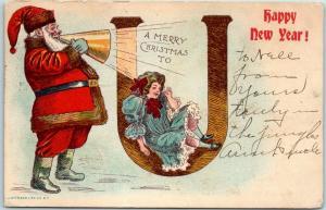 Vintage SANTA CLAUS Christmas Postcard Red Suit, w/ Megaphone 1908 AR Cancel