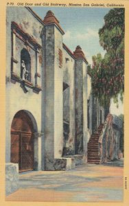 MISSION SAN GABRIEL , California, 1930-40s; Old Door and Stairway