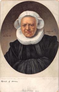 PORTRAIT OF OLD DUTCH LADY~AFTER REMBRANDT~MISCH SERIES ART POSTCARD