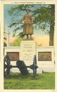 Molly Pitcher Monument, Carlisle, Pa, unused linen Postcard