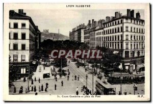 Old Postcard Lyon Illustrates Cours Gambetta and Place du Pont