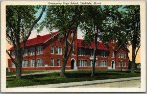 Litchfield, Illinois Postcard Community High School Street View Kropp c1930s