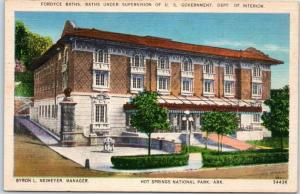 Hot Springs National Park Ark. Postcard FORDYCE BATHS Street View Linen c1940s