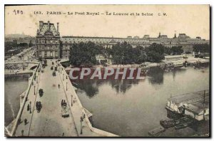 Old Postcard Paris Pont Royal The Louvre and the Seine