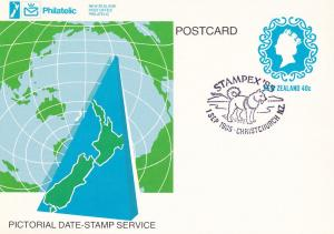 Stampex 85 New Zealand Christchurch Dog Frank Postcard FDC