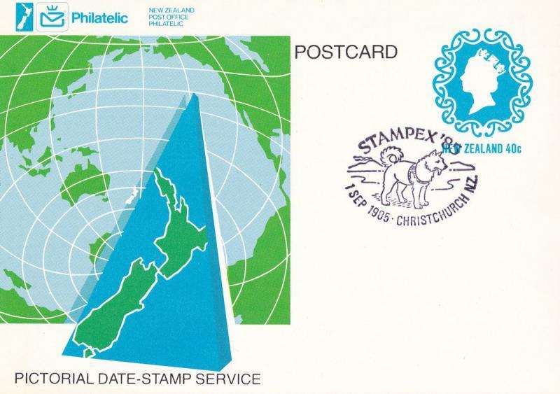Stampex 85 New Zealand Christchurch Dog Frank Postcard FDC