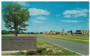 Postcard Michigan State University, Oakland on Squirrel Rd, Rochester & Pontiac
