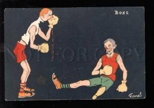 029337 BOXING Boxer in Fight on ring by FERNEL Vintage PC