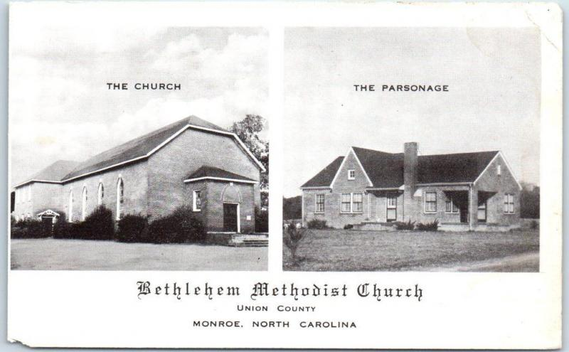 Monroe, North Carolina Postcard Bethlehem Methodist Church & Parsonage c1940s