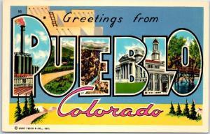 Vintage PUEBLO Colorado Large Letter Postcard Curteich Chrome c1960s Unused