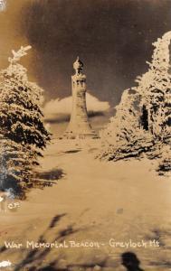 Adams Massachusetts~Mt Greylock War Memorial Beacon in Snow~1930s RPPC