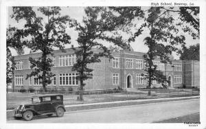 1920s Barstrop Louisiana High School auto Teich postcard 8743
