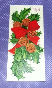 Vtg Vintage Christmas Card Textured Holly Mistletoe Bells Red Ribbon #222