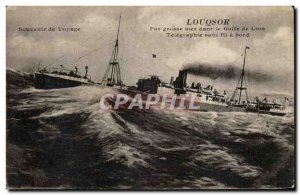 Old Postcard Luxor in the Gulf of Lion Telegraphe wireless on board (ship)