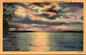 New York Lake George Moonlight Scene 1941 Curteich