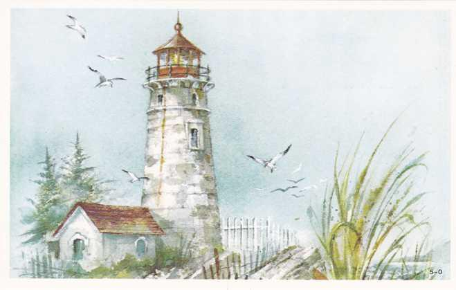 Attractive Lighthouse Watercolor - Art - Painting - Tuck