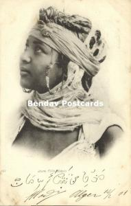 algeria, Beautiful Young Kabyle Girl, Earring Jewelry (1901) Stamp