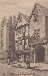 Lady Selling Fruit at St Bartholomews Hospital Bristol Antique Postcard