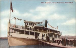 Yellowstone National Park Steamboat at Dock c1910 Postcard
