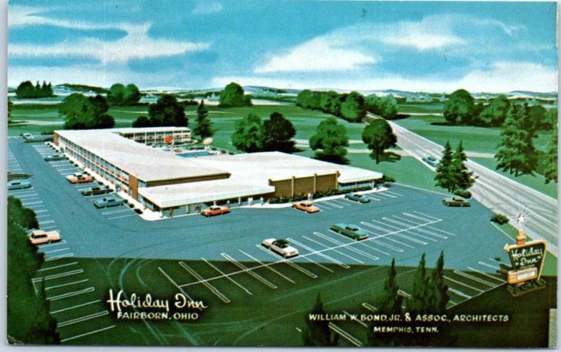 Fairborn, Ohio Postcard HOLIDAY INN Motel Artist's View Roadside c1960s Unused