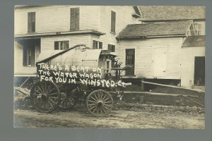 Winsted CONNECTICUT RPPC c1919 DELIVERY WAGON Water Wagon nr Torrington