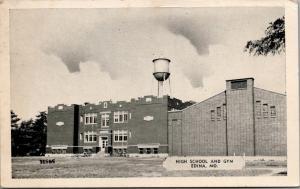 Edina Missouri~Water Tower Over High School & Tree Branch Over Gymnasium~1951