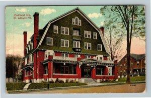 St Albans VT-Vermont, Colonial Inn, Vintage c1915 Postcard