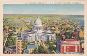 Wisconsin Madison State Capitol As Seen From Airplane Curteich