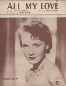 All My Love Petula Clark 1950s Sheet Music