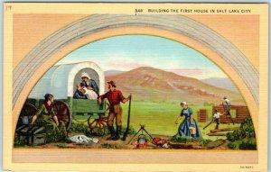 Salt Lake City, Utah Postcard Building First House Mural - State Capitol Linen