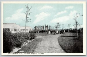 Indiana Harbor~Boys & Girls in Separate Lines~Art Deco~Washington Park~c1920 PC