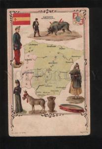 056093 SPAIN & Portugal MAP Vintage lithograph PC