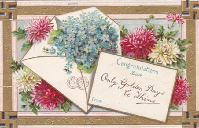 Birthday Greetings With Flowers and Swastika Border 1909
