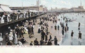 ATLANTIC CITY, New Jersey, 1901-1907; Board Walk And Beach
