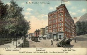 Hot Springs AR Hotel Pullman & Street Scene c1910 Postcard