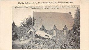 F81/ San Mateo California Postcard c1910 Earthquake Disaster Episcopal Church