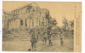 Ruines de l'Eglise de VIRGINY (Marne), France 1910s Soldiers in street