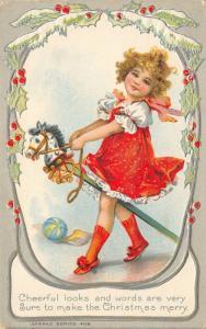 Brundage Christmas~Little Blonde Girl on Stick Horse~Silver Filigree Emboss~AMP
