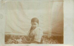 Postcard Social history young child traditional suit 1929