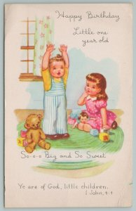 Virginia~Two Babies Playing With Toys~c1905 Postcard