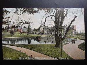 Suffolk IPSWICH Round Pond, Christchurch Park shows DUCK HOUSE c1907 by Hartmann