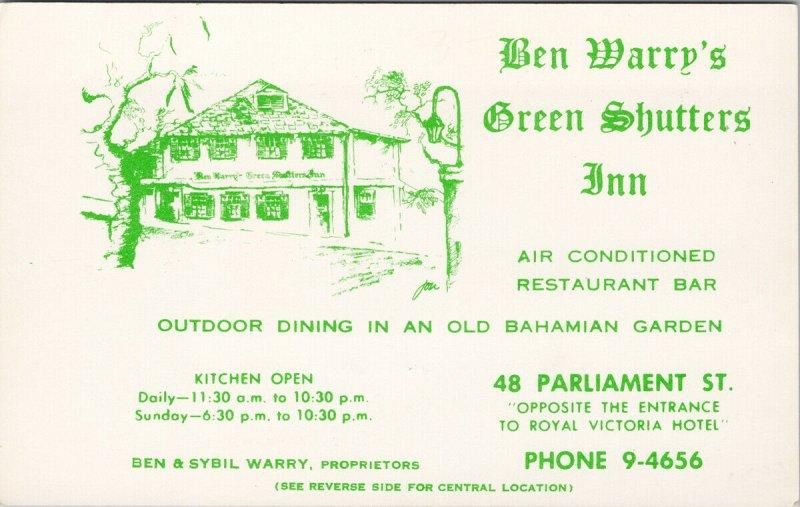 Ben Warry's Green Shutters Inn Nassau Bahamas Advertising Birdseye Postcard F29