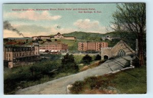 HOT SPRINGS, SD South Dakota SANITARIUM, Evans Block & HOTELS ~1908 Postcard