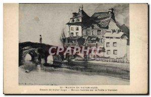 Postcard Old House of Victor Hugo Drawing of Victor Hugo