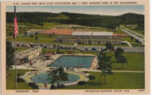 Old KINGSPORT Tennessee Tenn Tn Postcard LEGION POOL Civic Auditorium