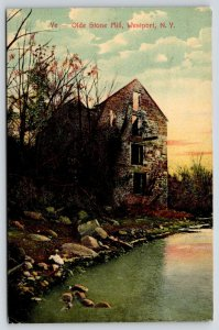 Westport New York~Olde Stone Mill Ruins~Sunset Sky Thru Window Walls~1909