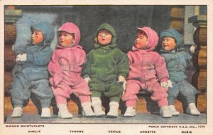 Dionne Quintuplets: Emelie, Yvonne, Cecile, Annette, and Marie,1936 Postcard