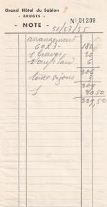 Grand Hotel Du Sablon Bruges 1940s Restaurant Receipt