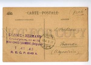 236453 BELGIUM CHARLEROI Church 1922 year RPPC to Ethiopia
