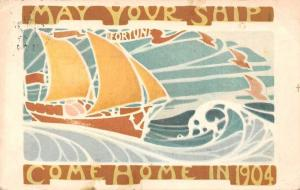 Health, Wealth, Happiness 'Fortune' May Your Ship Come Home in 1904